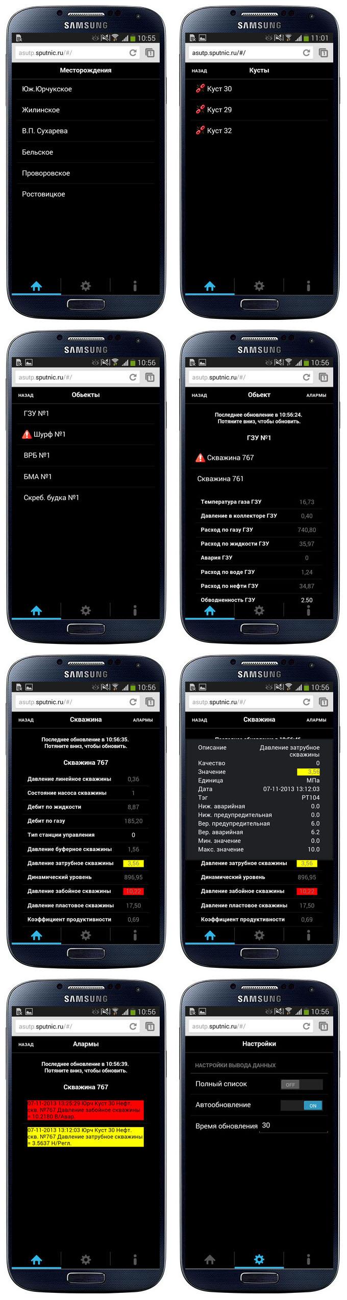 АСУ ТП кустов скважин (Android)