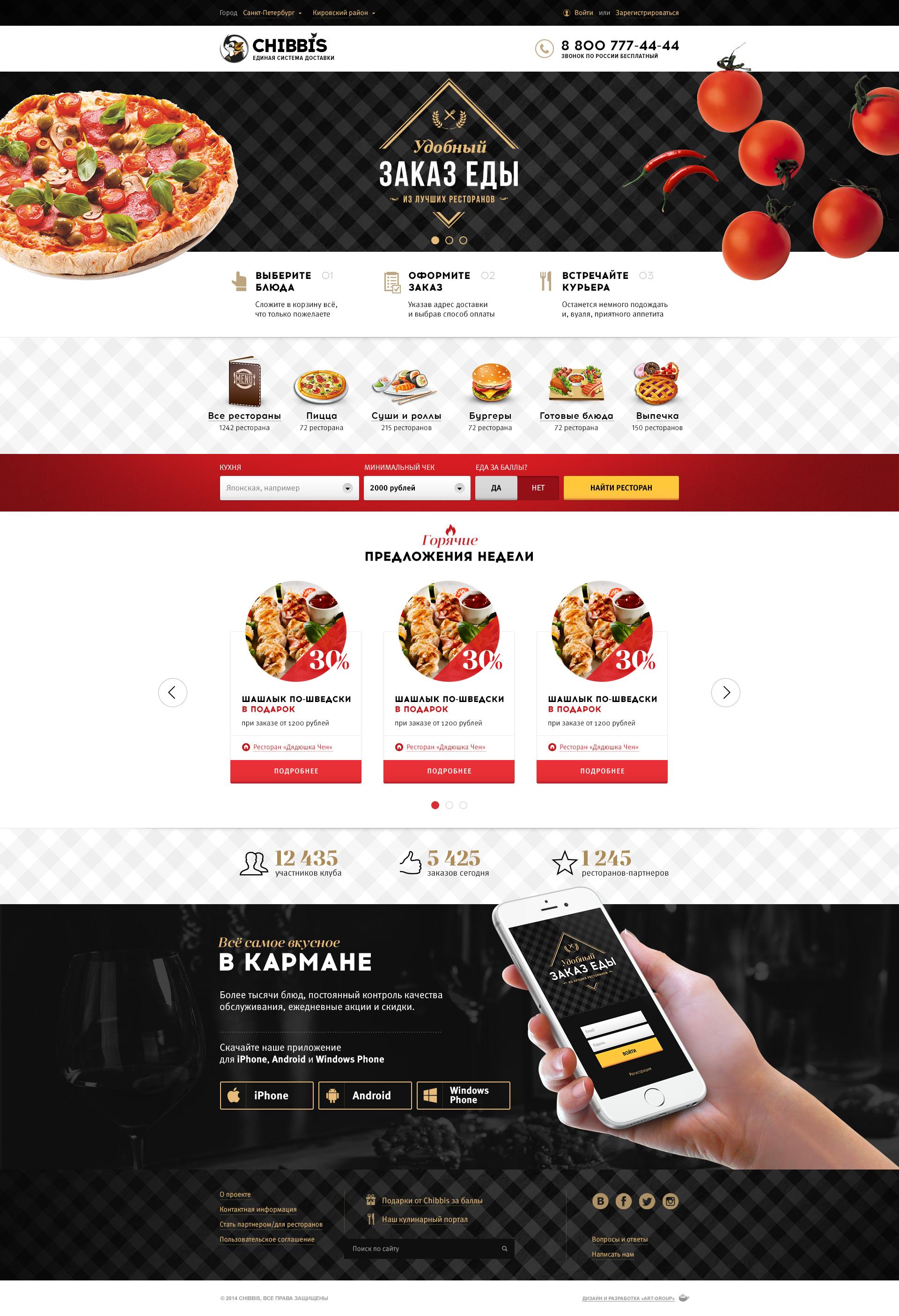 CHIBBIS, сайт пиццерии