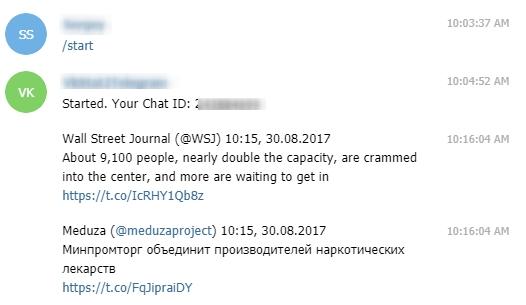 Репликация сообщений из Twitter в Telegram bot