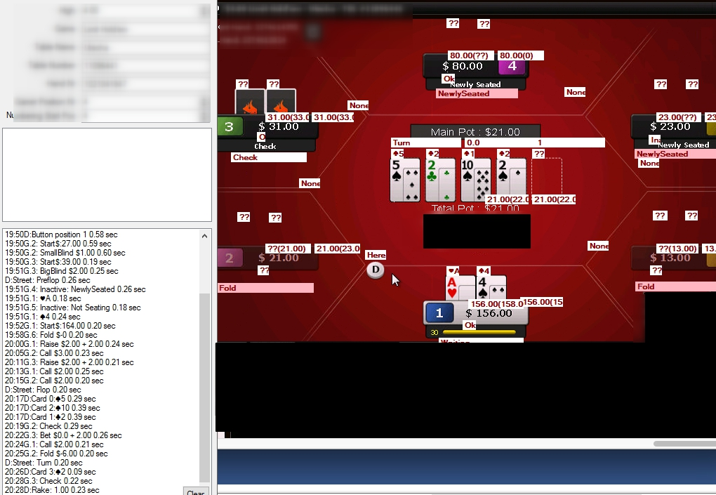 Распознавание событий игры Покер с экрана и передача данных для последующего анализа