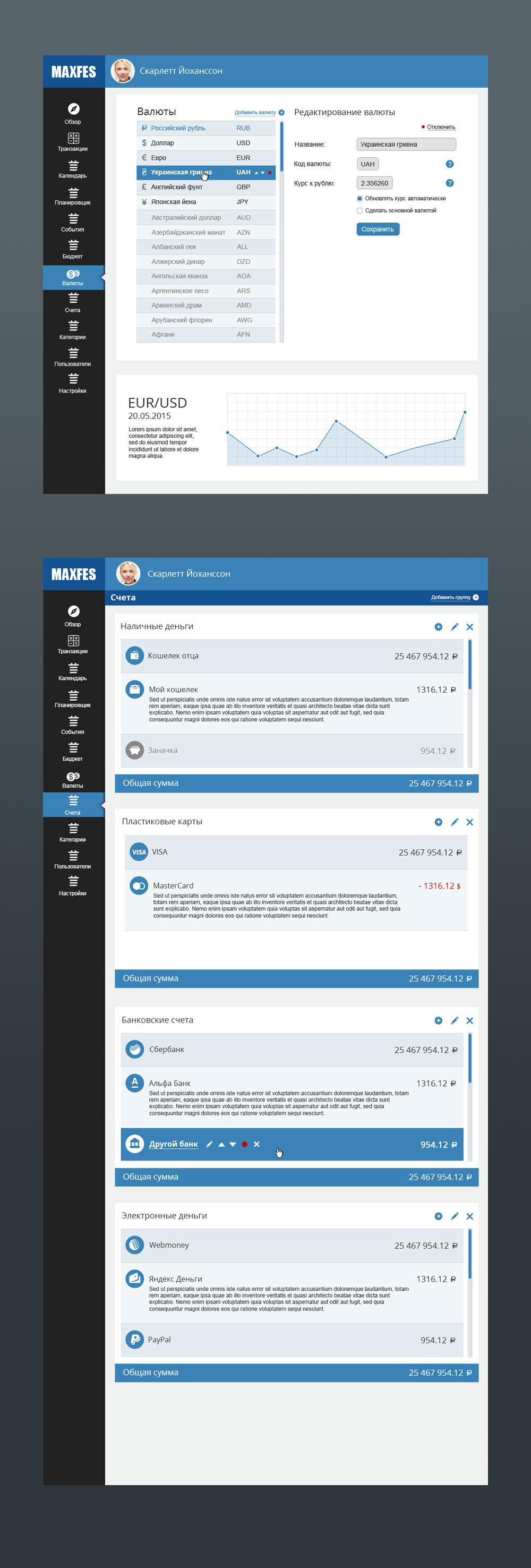 Финансовый помощник, Драфт интерфейса онлайн-сервиса