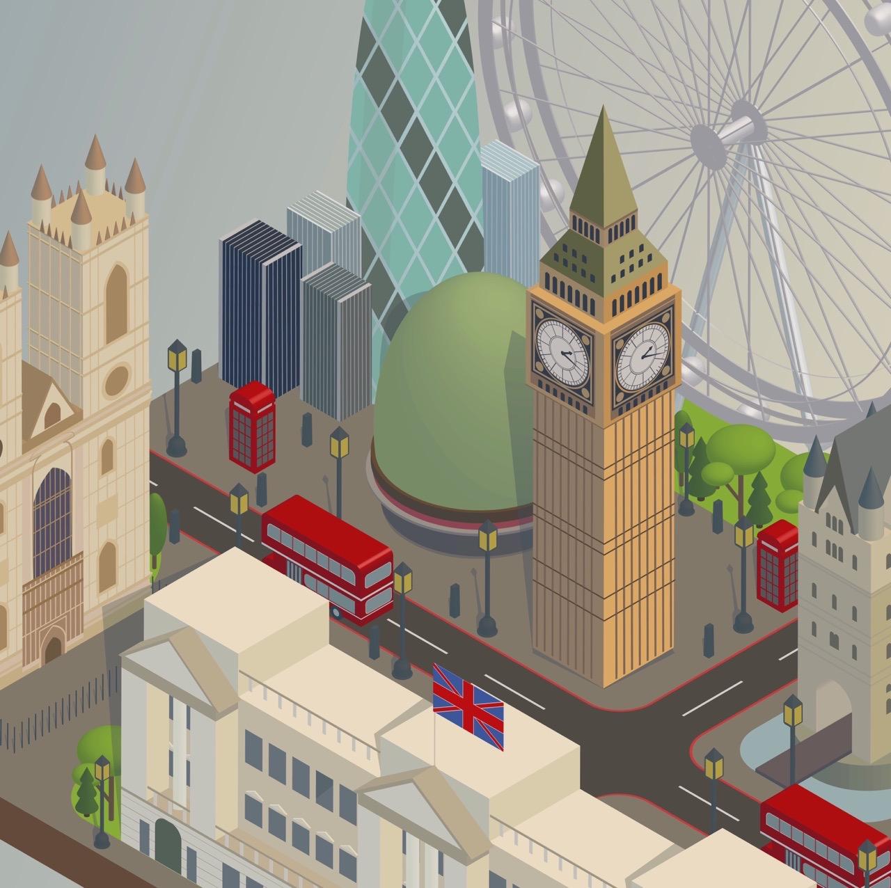 """Векторная иллюстрация """"Туристический Лондон в изометрии"""""""