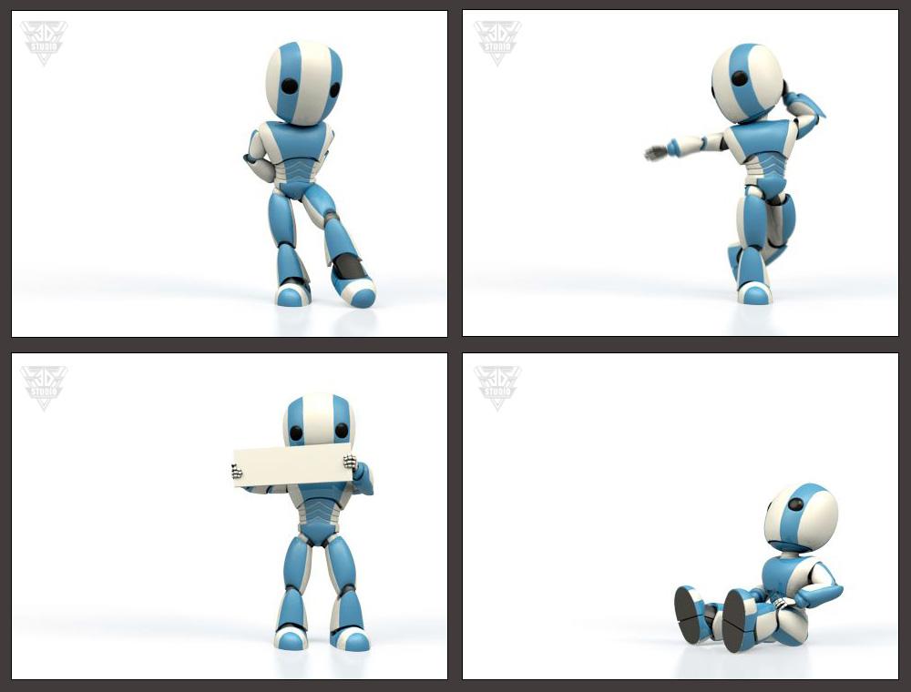 Цикличная анимация робота для сайта.