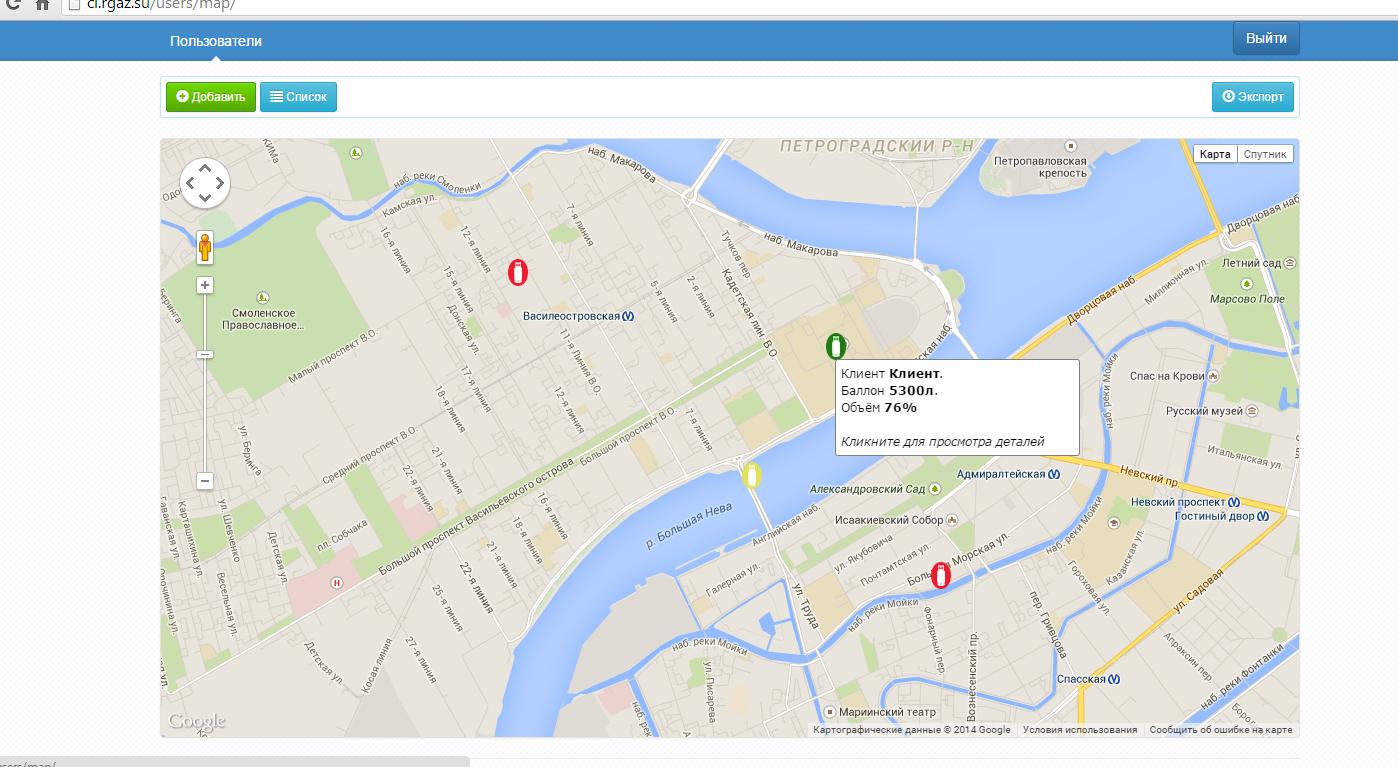 Внедрение красивого отображения клиентов на карте Google с подсказками