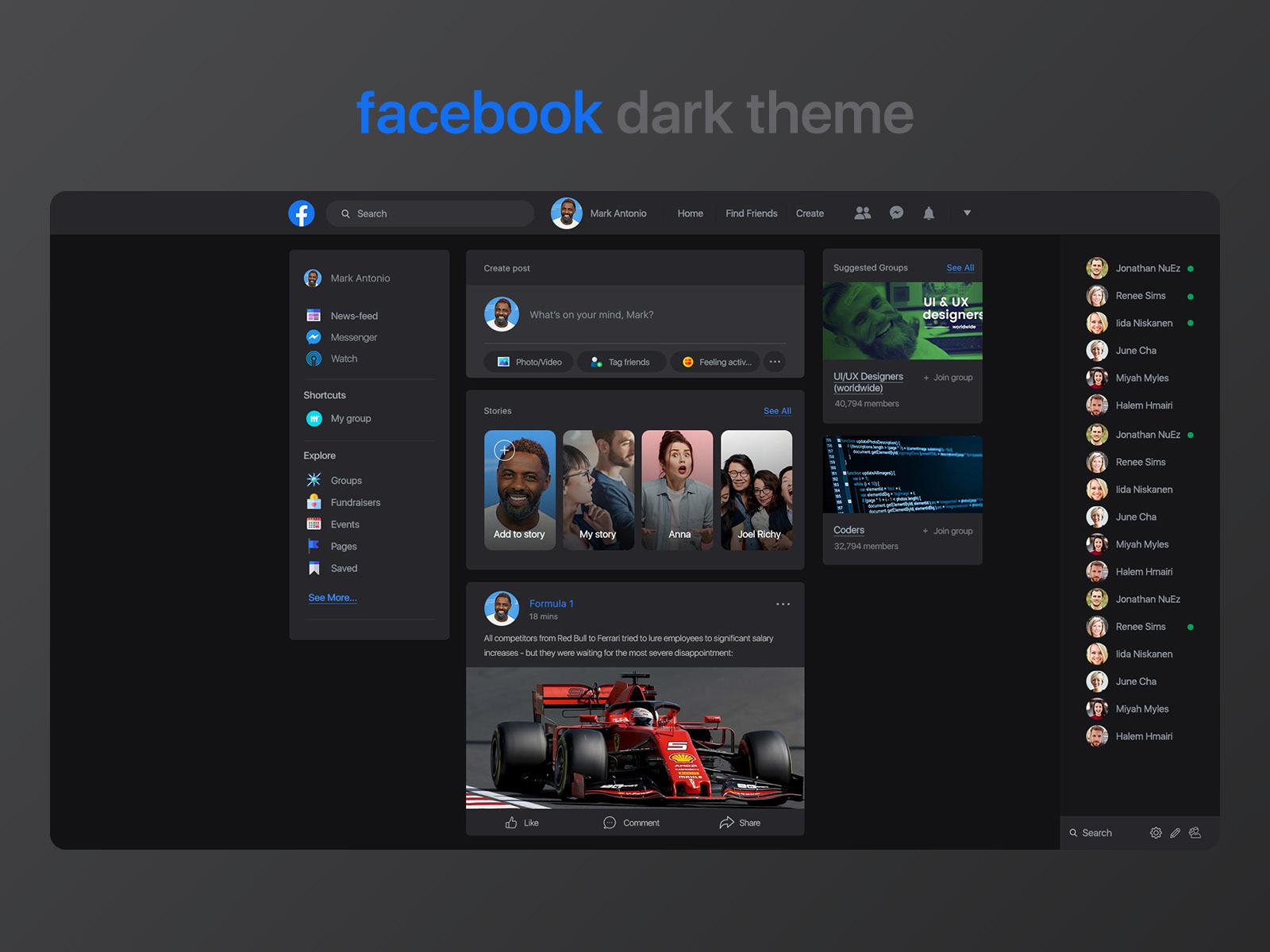 Facebook dark theme concept