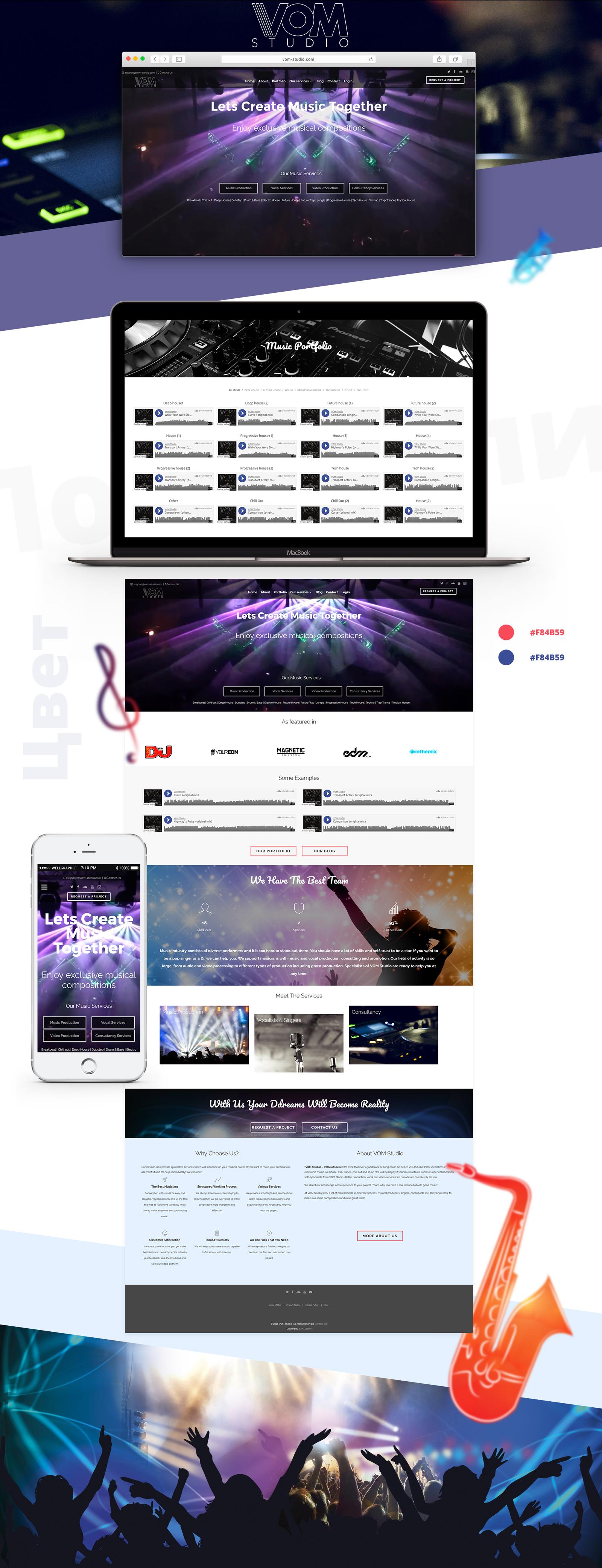 Сайт для звукозаписывающей студии «VOM-Studio»