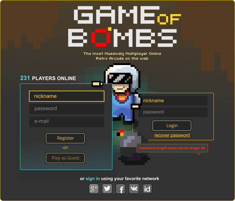 Pixel Art and UI for gameofbombs.com