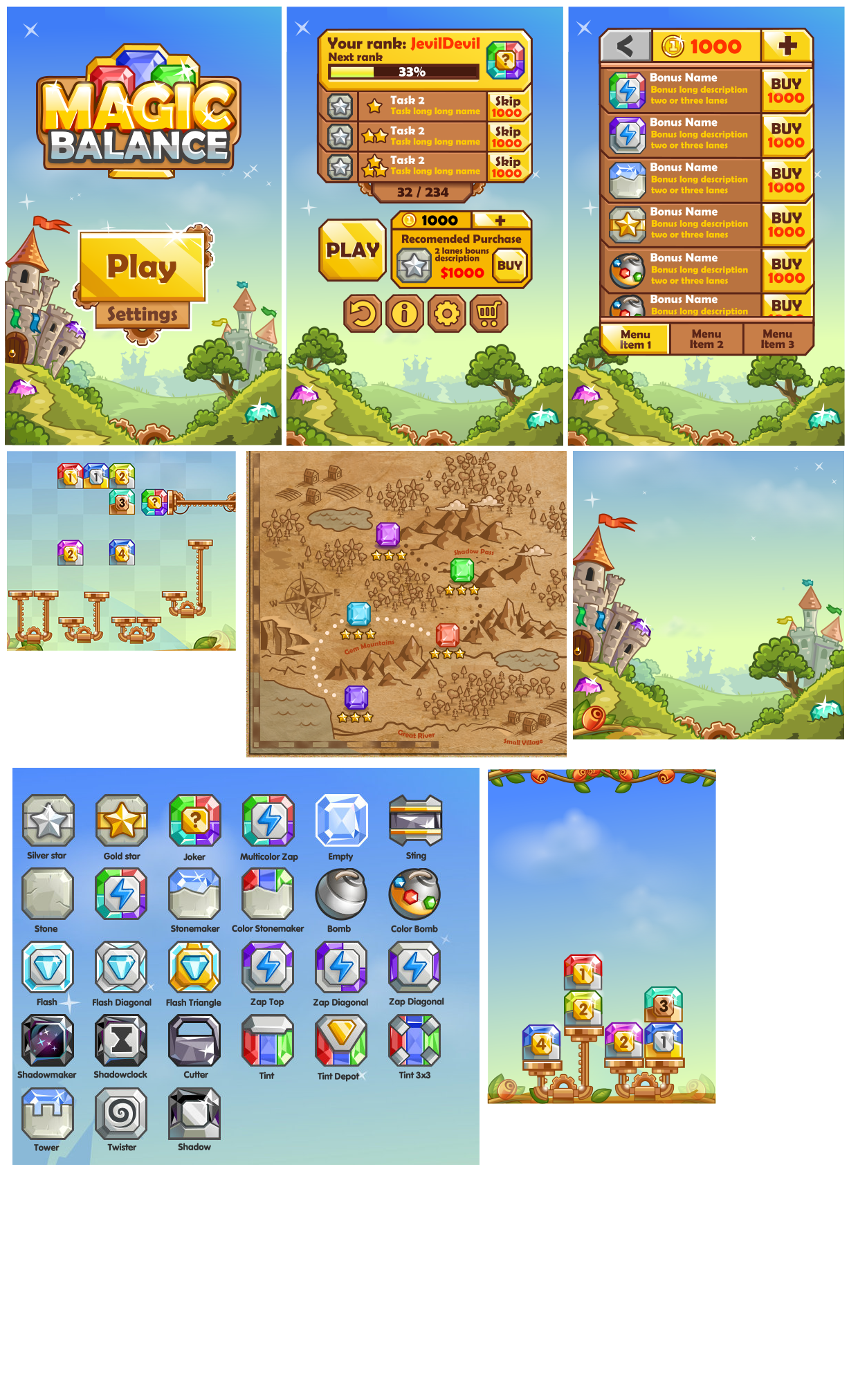mobile game assets and UI