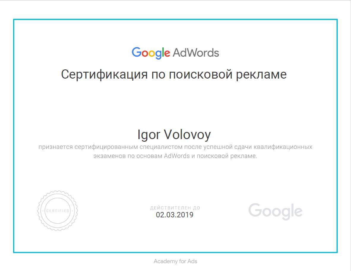 Сертификат специалиста Гугл  AdWords (поисковая реклама)