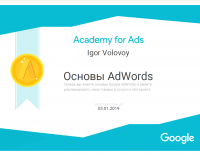 Сертификат специалиста Гугл AdWoords (Основы AdWords)