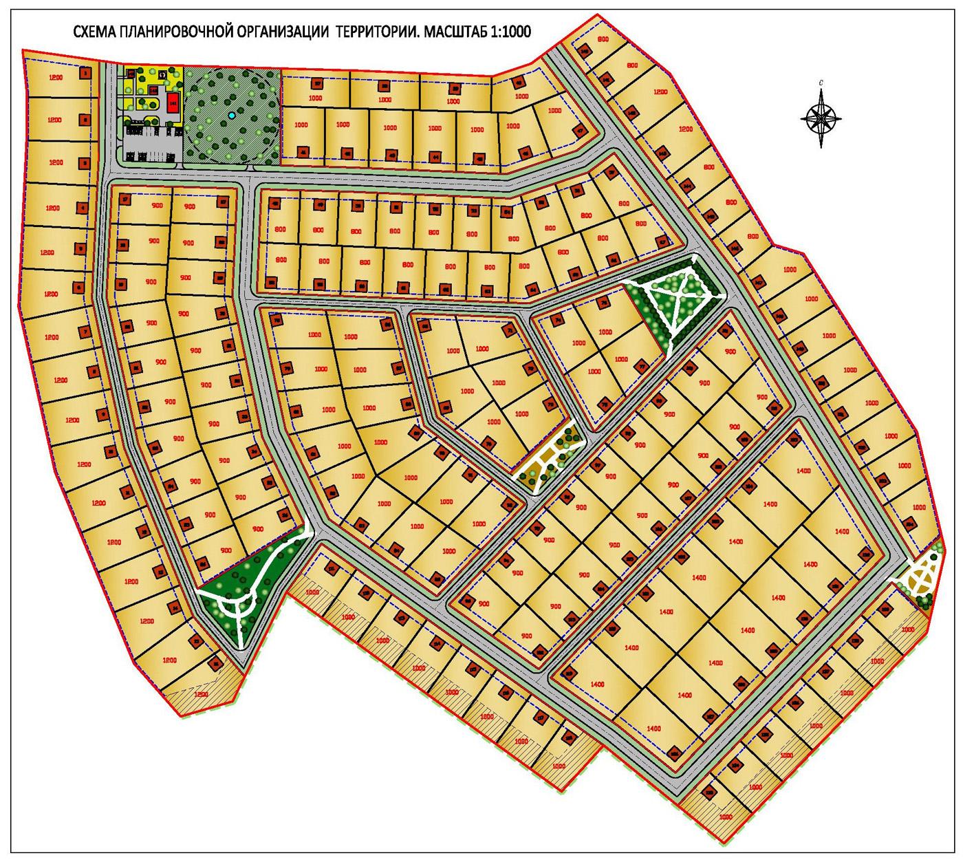 Планировка коттеджного поселка /20 га, вариант-I, этап согласования/