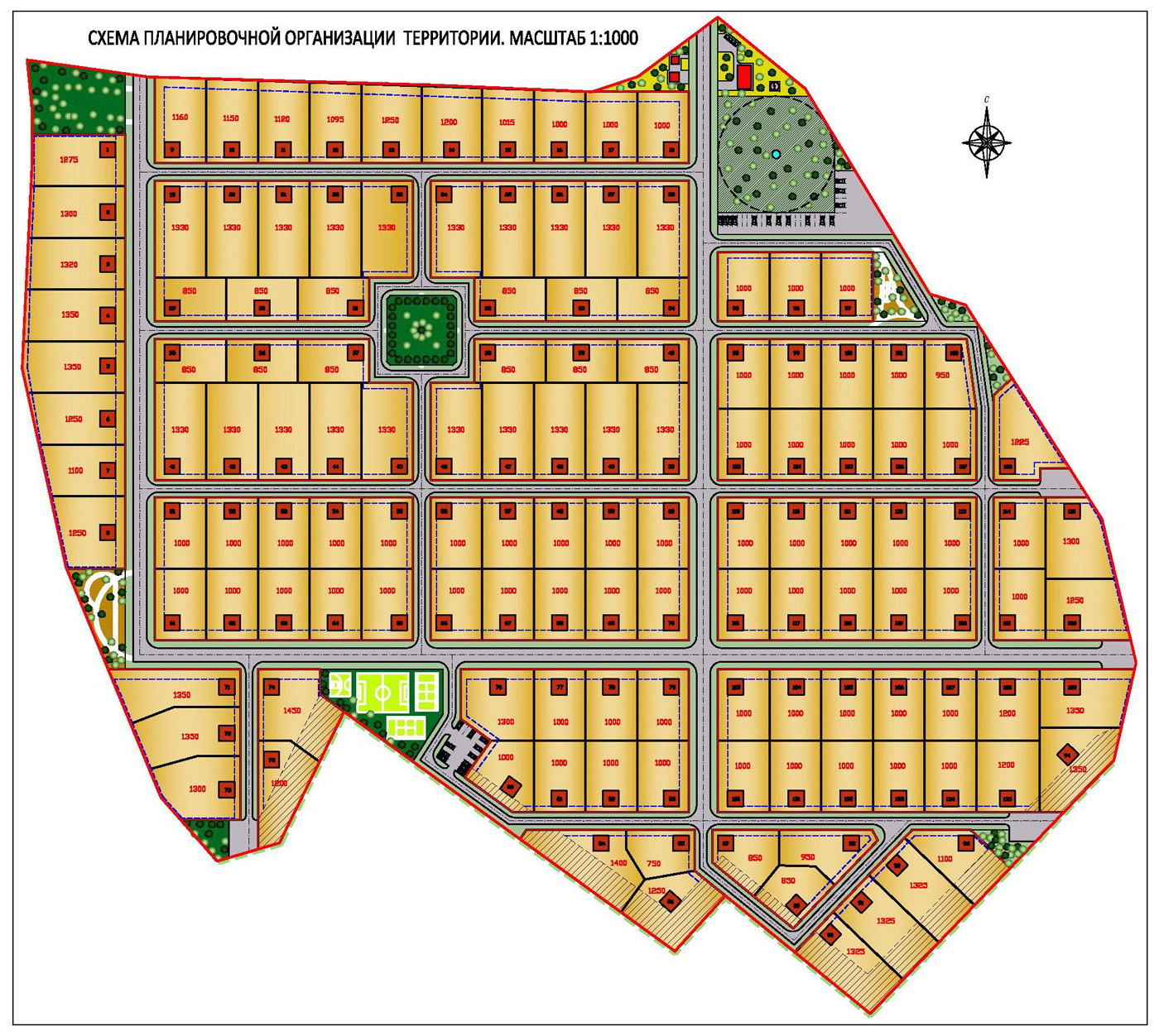 Планировка коттеджного поселка /20 га, вариант-II, этап согласования/
