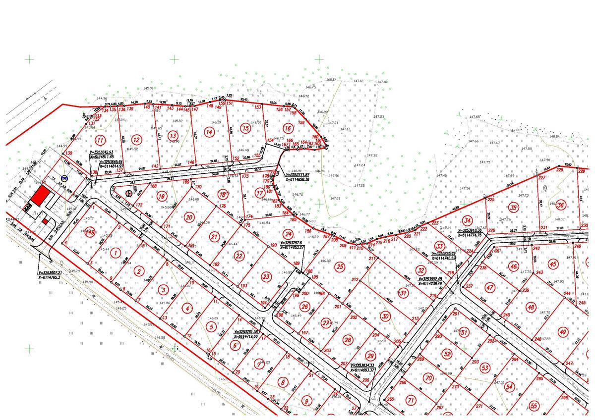 Проект планироки и межевания Разбивочный план [фрагмент]