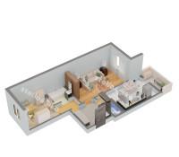 Планировка 2-х комнатной квартиры № 4 (вид изометрия)