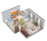 Планировка 3-х комнатной квартиры (вид изометрия)