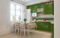 Интерьер зеленой кухни 2