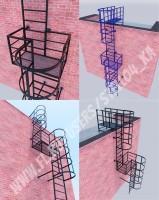 Прямая лестница с двумя площадками (3d визуализация)