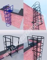 Прямая лестница с ограждением (3d визуализация)