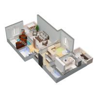 Планировка 3-х комнатной квартиры № 2 (вид изометрия)