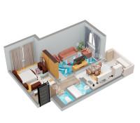 Планировка 2-х комнатной квартиры № 5 (вид изометрия)