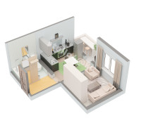 Планировка 1 комнатной квартиры № 7 (вид изометрия)