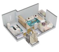 Планировка 3-х комнатной квартиры № 3 (вид изометрия)