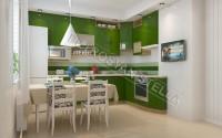 Интерьер зеленой кухни 3