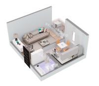 Планировка 1 комнатной квартиры № 8 (вид изометрия)