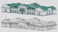 Моделинг и текстурирование lowpoly здания ЖД станция Лена для VR приложения