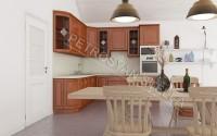 Интерьер кухни из красного дерева