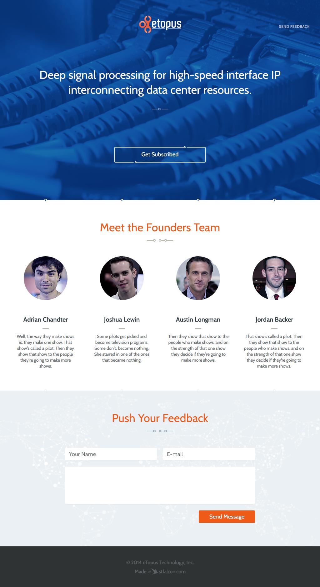 eTopus Technology - лендинг для инновационного проекта eTopus Technology