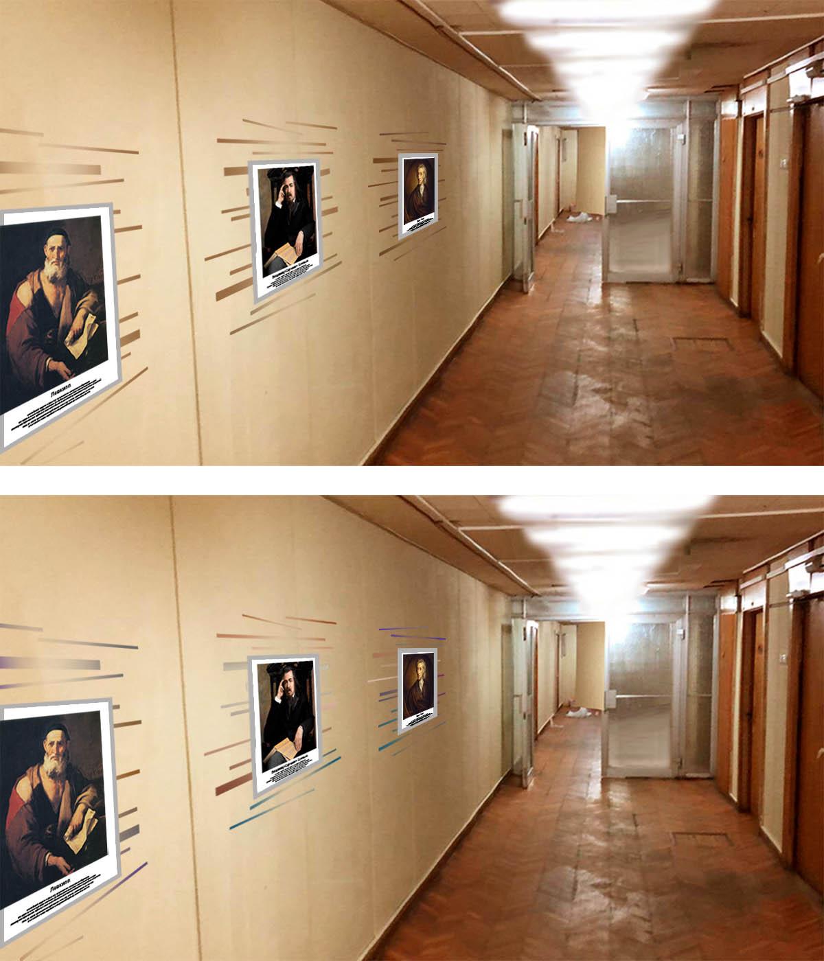 Предложить идею оформления портретов (с информацией) на стене фото f_6675e1cab07d1888.jpg