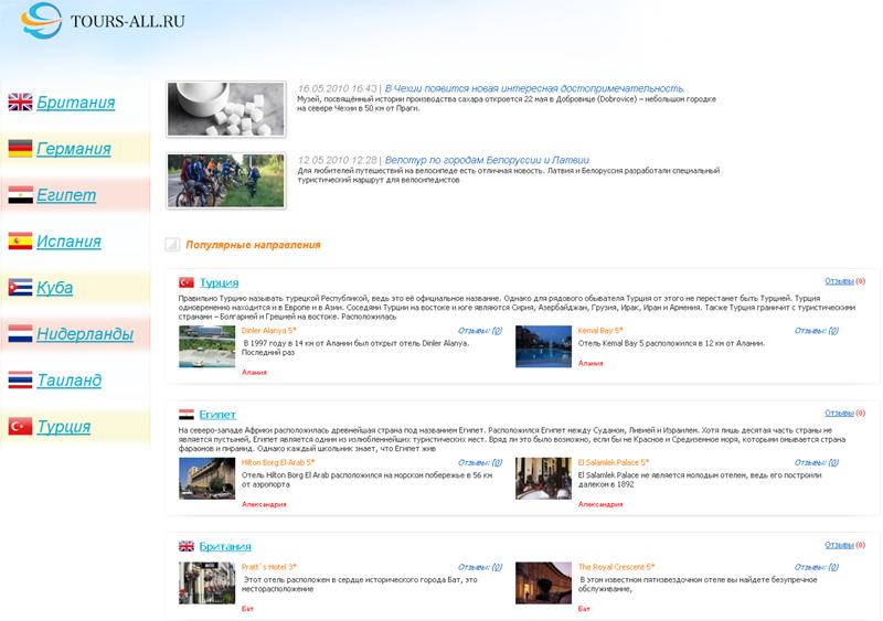 Сайт о туристических отелях стран мира