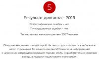 Результат Тотального диктанта - 2019