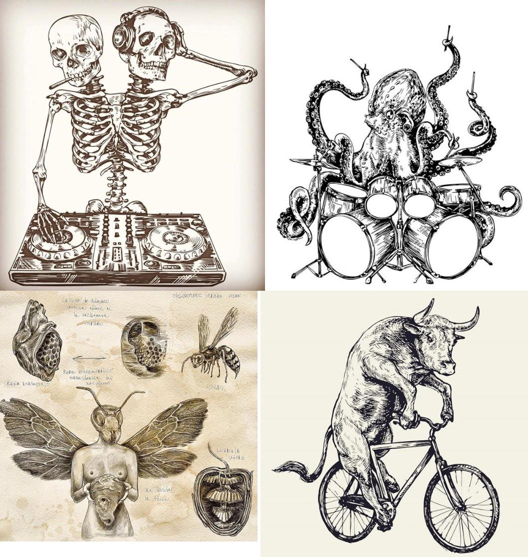векторный сет гравюры татуировки, скелеты, осьминог. бык, пчела