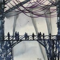 Мост, акварель