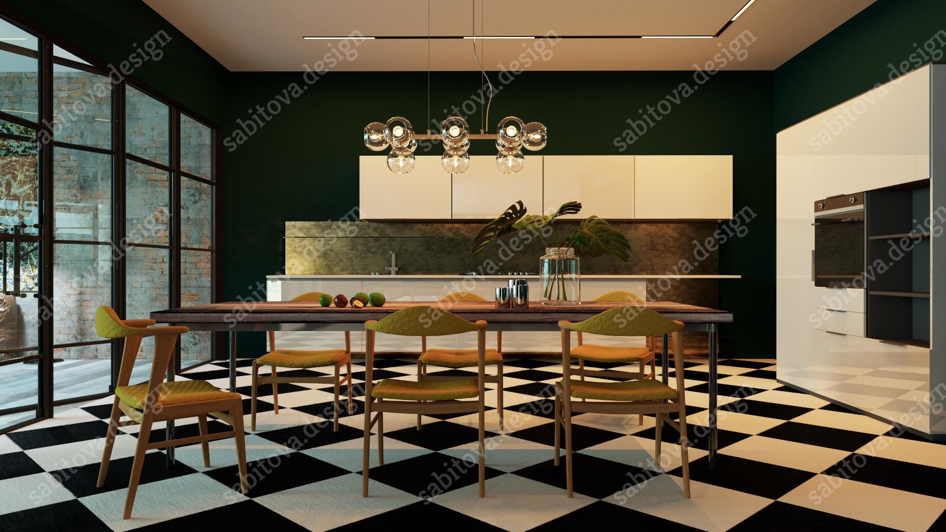 Загородный дом в Краснодарском каре - дизайн интерьера и визуализация