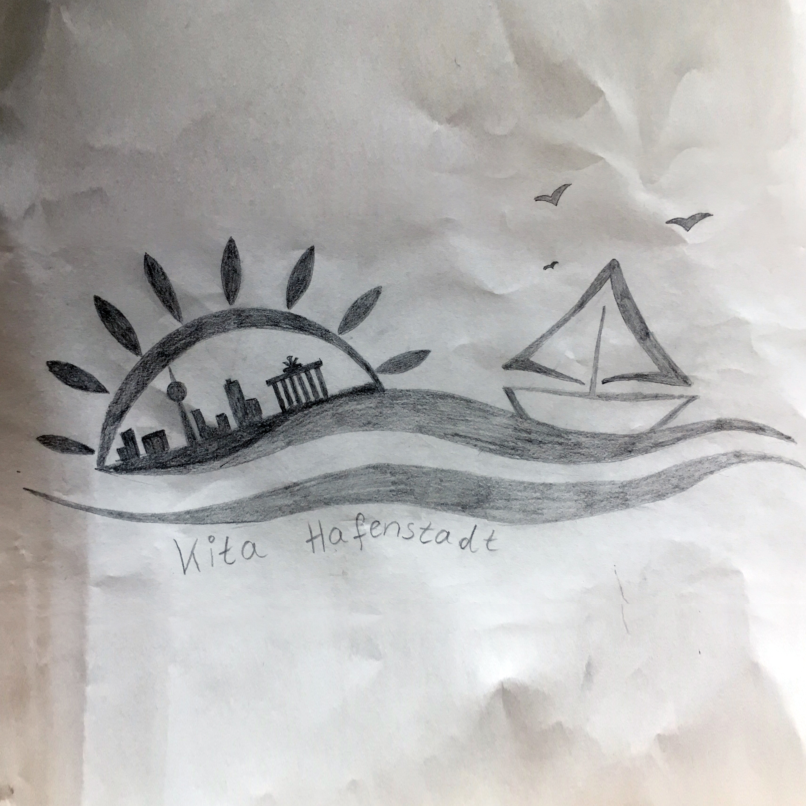 Логотип для детской школы английского языка «Kita Hafenstadt»