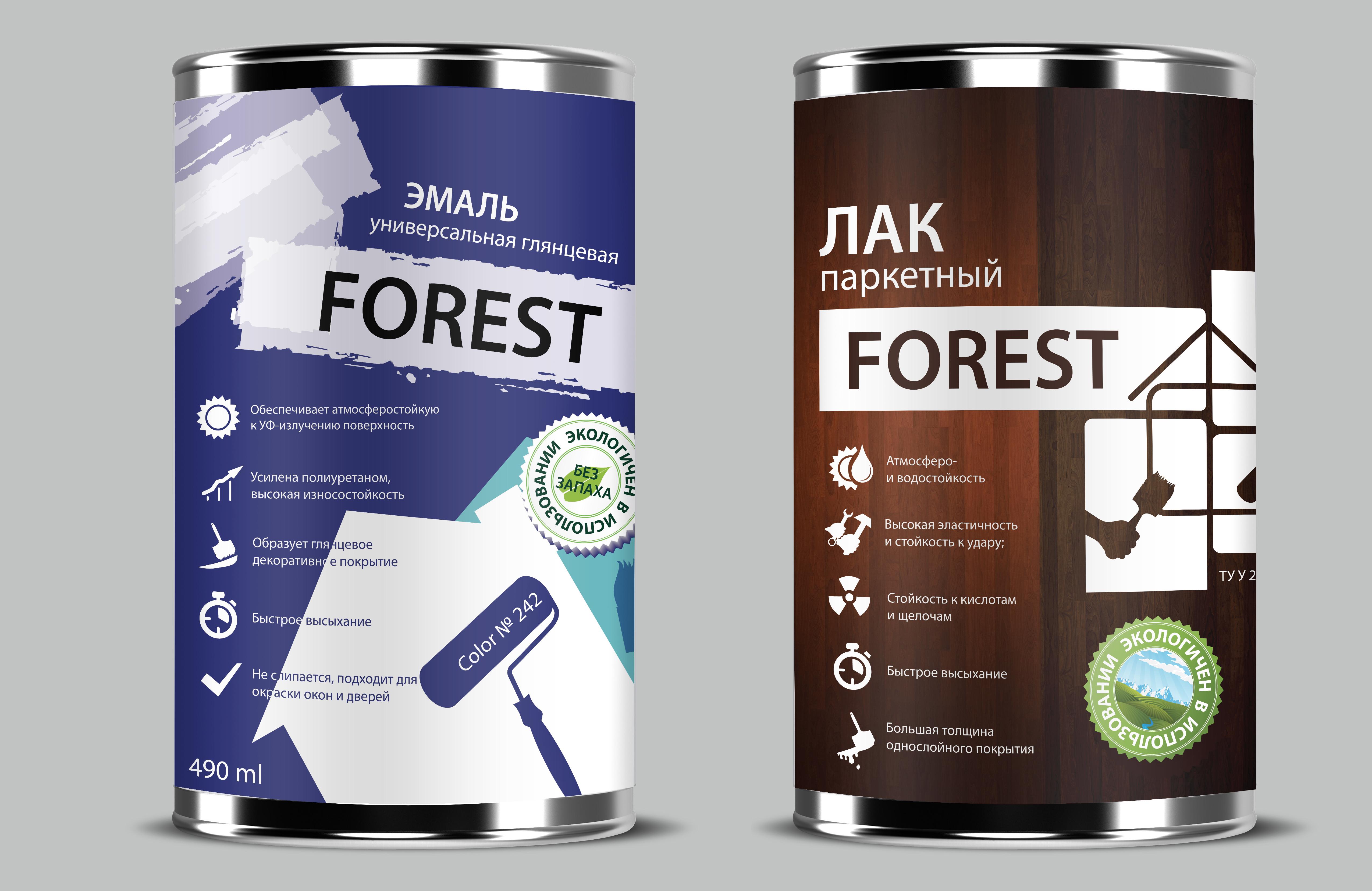 Концепт этикетки для торговой марки «FOREST» (Лакокрасочные изделия)