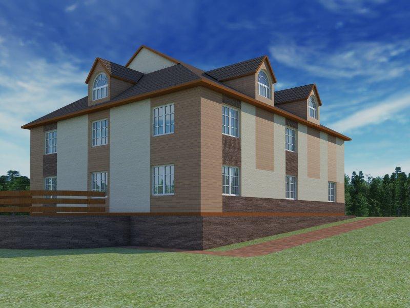 Архитектурный проект фасада коттеджа фото f_04354b7e5811da4f.jpg