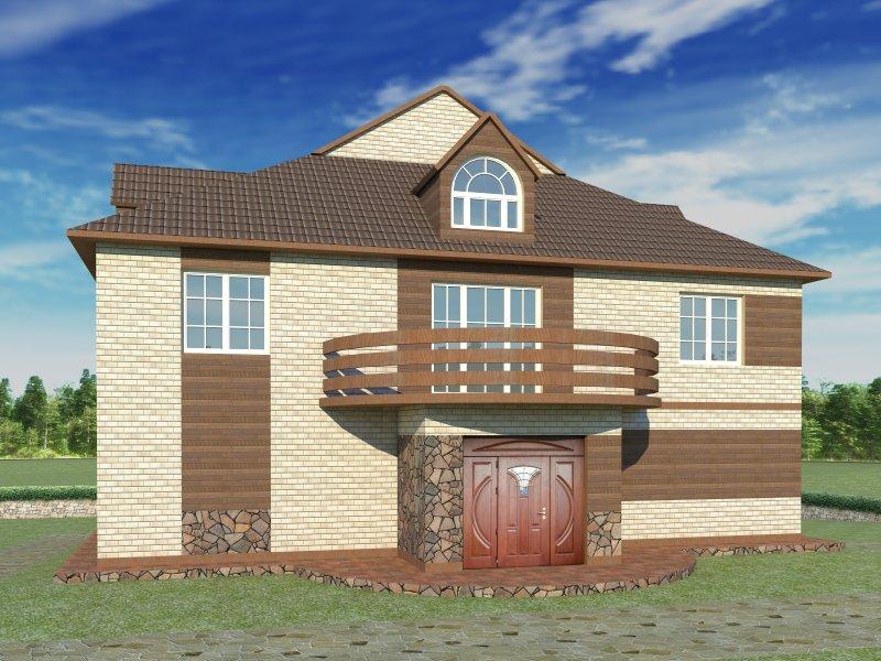 Архитектурный проект фасада коттеджа фото f_08054b7e512bc39f.jpg