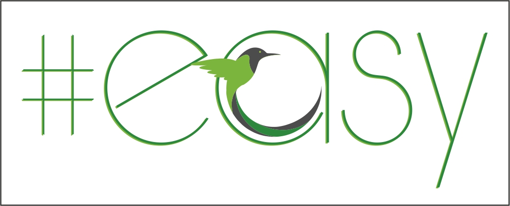 Разработка логотипа в виде хэштега #easy с зеленой колибри  фото f_2865d519ef026ceb.jpg