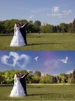 Ретушь свадебного фото -Монтаж