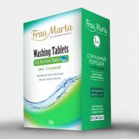эскиз упаковки порошка в таблетках «Frau Marta»