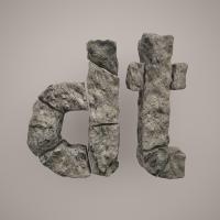 моделирование по референсу - буквы из камня
