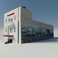 лоуполи здание с текстурой