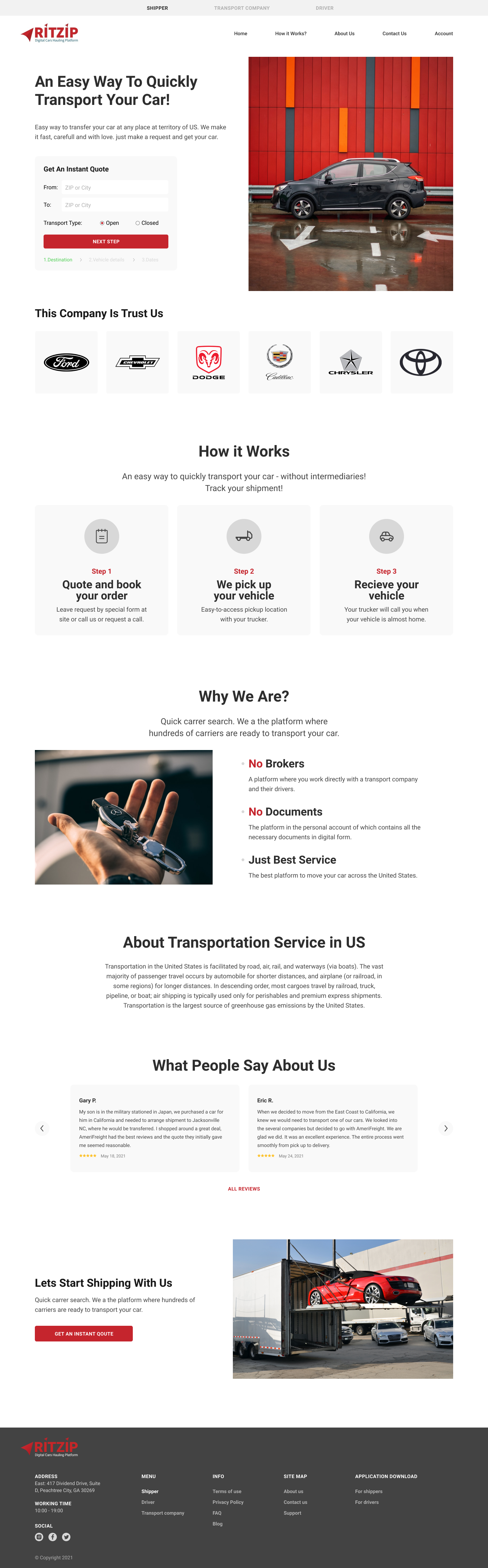 Дизайн сайта - автоперевозка авто в США -car hauling фото f_42760919c3801734.png