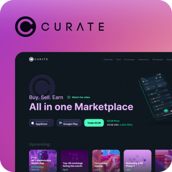 Curate – Landing page для криптовалютного маркетплейса