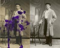 Удаление пятен от чернил, реставрация фотографии, цветокоррекция
