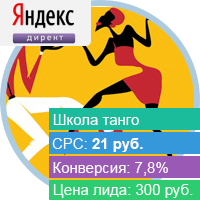 800+ заявок в школу танго по Москве по цене 300 рублей.